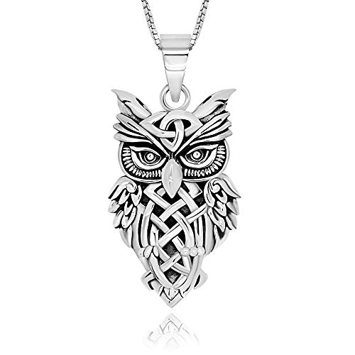 925 Sterling Silver Celtic Owl Triquetra Animal Pendant Necklace 18'