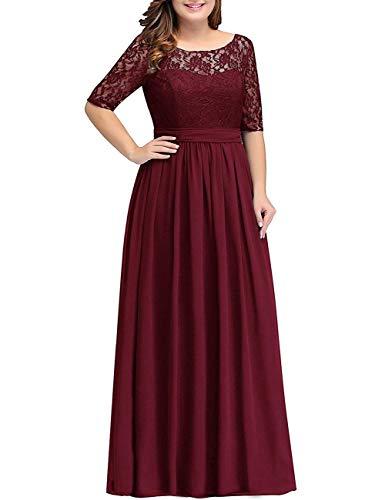 HUINI Abendkleid Chiffon Vintage Ballkleid Brautmutterkleid V-Ausschnitt Hochzeitkleid Damen mit Ärmel Burgund 58