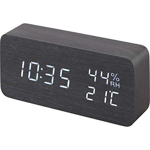 アイリスオーヤマ 置き時計 デジタル 目覚まし時計 温度・湿度表示 省電力モード搭載 木目デザイン 多機能 明るさ調整 ブラック ICW-01WH-B