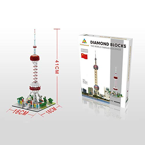 Modelo China Building The Oriental Pearl Tower 1400 + Pcs Nanoblock Nano Mini Blocks Juego de Bricolaje Regalos de Juguete para Adultos y 14+ niños