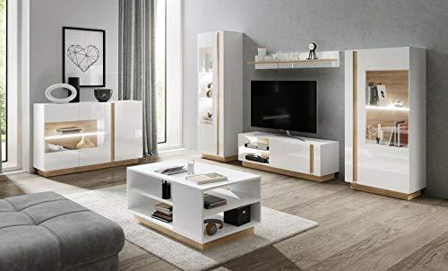 Wihnwand Arden mit Led Beleuchtung in Farbe Weiß+Eiche Grandson +Weiß Hochglanz +Kommode (Wohnwand +Tisch)