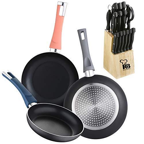 Lot de 3 poêles (Ø18,20,24 cm) en aluminium pressé, induction avec set de 15 couteaux de cuisine avec couvercle en bois
