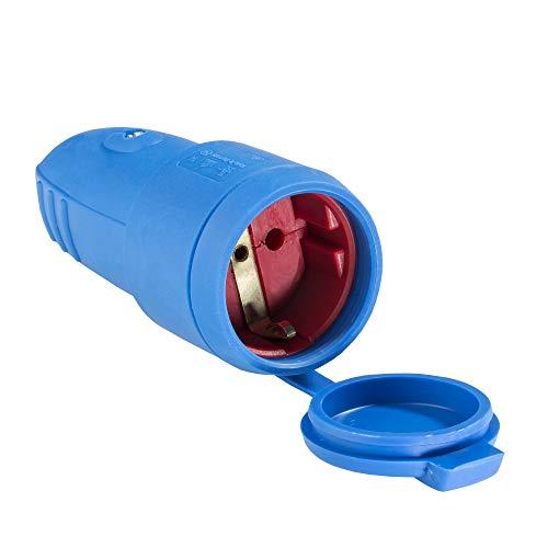 as - Schwabe Gummi-Kupplung 230 V / 16 A ohne Kabel – Schuko Kupplung mit doppeltem Schutzkontakt – Schutzkontakt-Kupplung – IP 44 für den Außenbereich geeignet – Made in Germany – blau I 62411