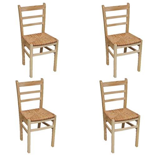 Sillas barnizadas natural de madera para comedor - 4 piezas