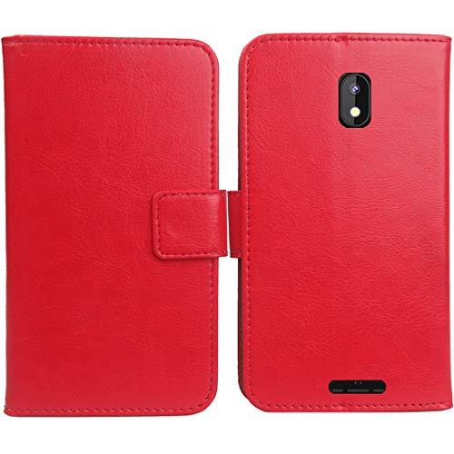 """Mengtu Housse Coque pour SFR Altice S32 4.95"""" PU Cuir Etui Leather Case Cover Flip Cas Couverture Protecteur Portefeuille Book Wallet (Rouge)"""