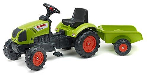 Falk – Tractor a Pedales Claas con Remolque – A Partir de 2 años – Fabricado en Francia – Volante direccional con bocina – 2040A