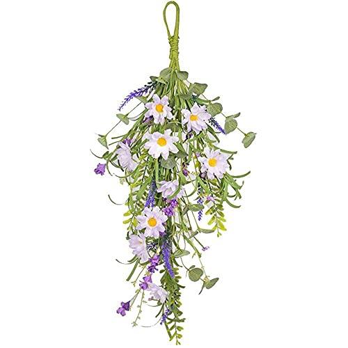 YuKeShop Guirnalda colgante de flores multicolor flexible – corona artificial de lágrima para decoración interior y exterior