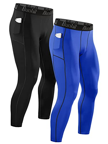 Runhit Mens Compression Leggings Compression Pants Men with Pocket Running Tights for Men Workout Athletic Thermal Winter Base Layer Blue Black 2 Pack