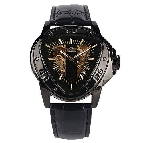 Automatische, mechanische Skelett-Uhr für Herren, Dreieck Zifferblatt, Leder, wasserdicht, selbstaufziehend, Golduhren, Geschenk für Männer