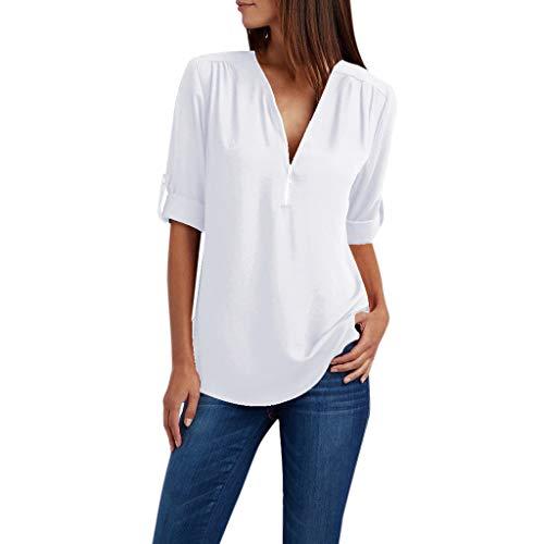Zegeey Damen T-Shirt Oberteil Langarm ReißVerschluss Solide LöSen Chiffon Hemd Bluse Shirts Pullover Tunika(Weiß,42 DE/XL CN)