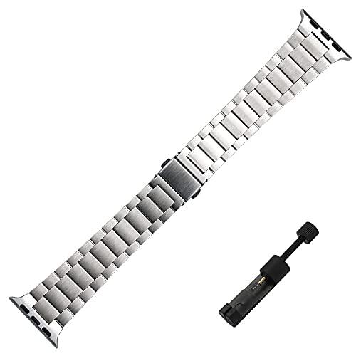 Correa De Reloj Correa de Acero Inoxidable Ultrafina Compatible con Apple Watch 6 5 4 3 SE Banda 38mm 42mm 40 mm 44mm Pulsera de Metal Compatible con la Serie de la Serie IWATCH Nylon