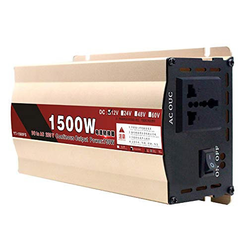 90GJ CONVERTIDOR DE ENERGÍA/CONVERTIDOR-12V-220V750W / 1500W (Potencia máxima) Convertidor para el hogar, Adecuado para Acampar, Viajar y Auto/Barco, Protección Inteligente múltiple