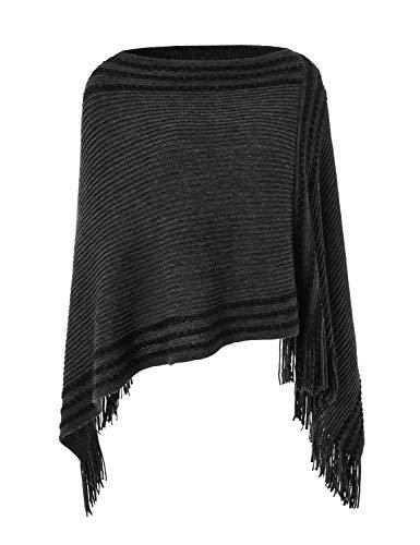 Ferand Legerer Gestreifter Damen Poncho-Schal Strick-Pullover mit Fransen, Schwarz, Einheitsgröße (Beste Passform S-L)