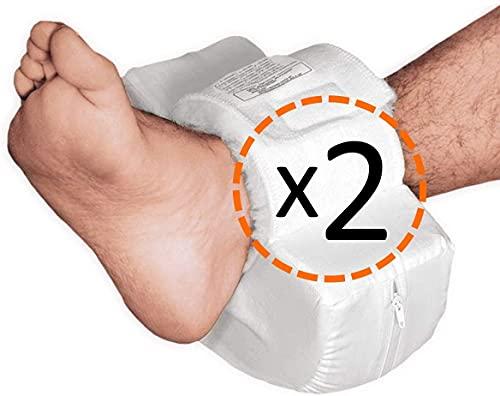 OrtoPrime Antidekubitus Fersenpolster gebogene Form 2X - Orthopädischer Schoner für Ferse Fuß und Ellenbogen - 2 Stück - Anpassbare Universalgröße - Dekubitus Fußkissen für Rollstuhl und Bett