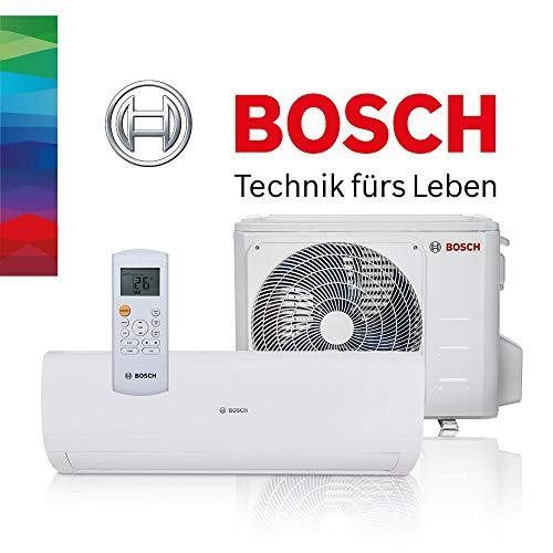 BOSCH Climate 5000 RAC Split Klimaanlage 5,3 kW 18000 BTU, für bis zu 60 qm, Invert Klimagerät Split, A++ Kühlen, A+ Heizen, inkl. MontageSet, Kältemittel R32, Fernbedienung