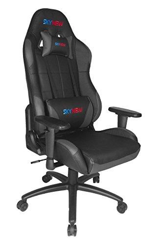 Skynew GTX Serie Schreibtischstuhl/Gaming Stuhl/Bürostuhl/Chefsessel mit Armlehnen, hochwertig Kunstleder, Sportsitz inklusiv Kissen (GTX, Schwarz-Grau) GTX BGY-A