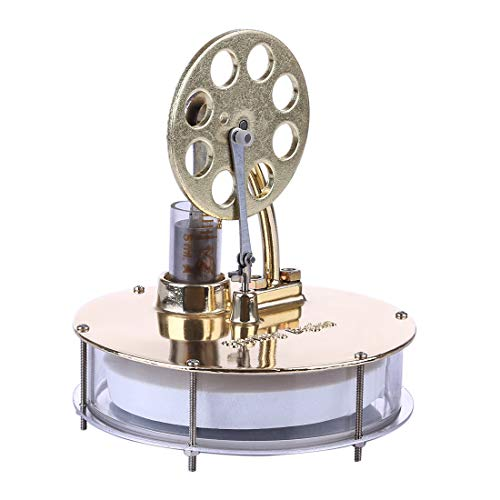 Lommer Low Temperature Stirling Engine Kit, Metal Stirling Engine Model with Arc-shaped Holder, Physical Experiment Gift for Adult and Kids