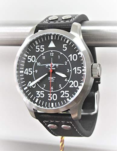 IMC Fliegeruhr Tornado Männer Herren Armbanduhr Uhr Lederarmband Gehäuse aus Edelstahl