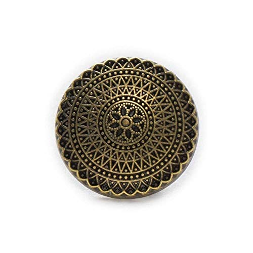 KGDUYH Fashion 5pcs Round Retro Metal Shank Buttons fit Clothing Repair Sewing Decor Replace and Crafts Make 15-25mm for Clothing and Decoration (Color : Bronze, Size : 23mm)