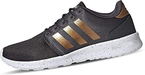 adidas Women's CloudfoamQT Racer Xpressive-Contemporary CloudfoamRunning Sneakers Shoes, Grey Six/tactile gold met./ftwr White, 9 M US