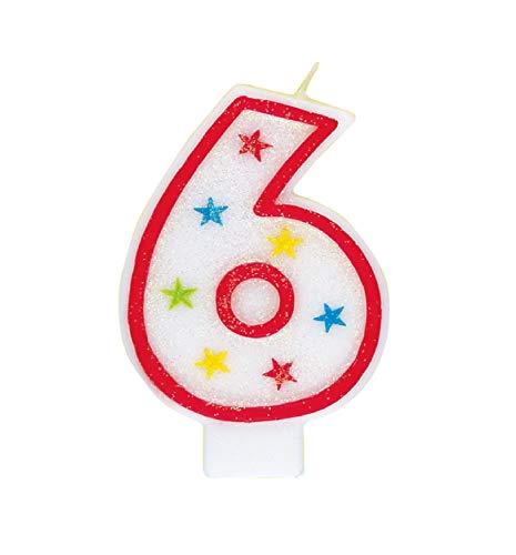 Unique Party 37316 - Candela per il Compleano Numero 6 Con Glitter e Decorazione per Torte 'Happy Birthday'