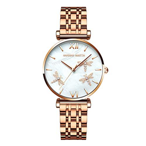 Allskid Mujeres Relojes Libélula Alivio 3D Perla Cáscara Marcar Plateado Oro Rosa Acero Inoxidable Correa de Reloj Elegante Cuarzo Relojes de Pulsera (36mm, Oro Rosa)