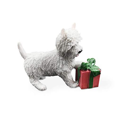 BEAUTYLE West Highland White Terrier Spielen mit Einer Geschenkbox Familie Haustier Hund Kawaii Simulation Craft Home Decoration Zubehör