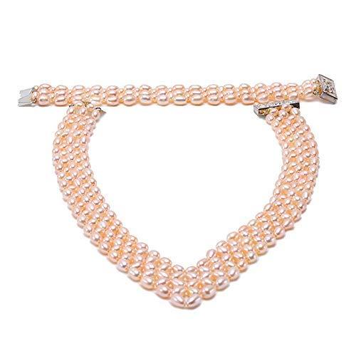jyx Mehrreihige 6–7mm Pink Oval culturd Süßwasserperlen Halskette und Armband Schmuck-Set (weiß)