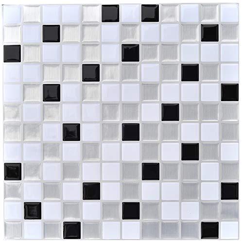 profesticker Vinilo Azulejo Adhesivo Cenefa Adhesiva 3D Auto-Adhesivo Pegatina Pared Baldosa Revestimiento Border Decorativo Impermeable Cocina Baño (Mosaico Negro-Plateado-Blanco, 4)