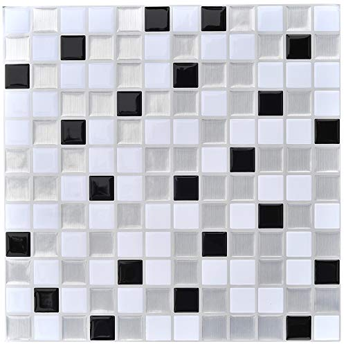 Profesticker Tile Sticker Self-Ahdesive 3D Stick On Tile Peel and Stick Wallpaper Heat Resistant Waterproof Backsplash Kitchen Bathroom (12Inches) (6Tiles) (Mosaic Black-Silver-White)