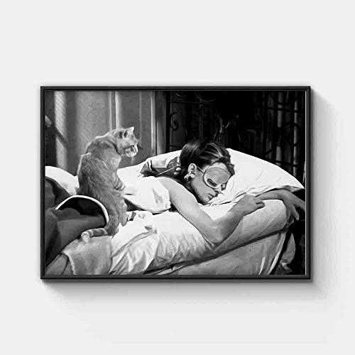 HNZKly Audrey Hepburn Y Gato Sueño Cuadro Negro Blanco Pared Arte Lienzo Pinturas Película Poster Vintage Poster Impresiones Sala Hogar Decoracion 50x70cm / Sin Marco Art