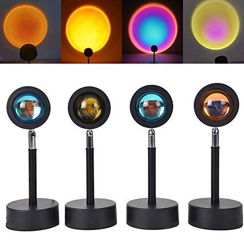 Lámpara de proyector de puesta de sol, atmósfera de arcoíris, luz nocturna LED, soporte de suelo con rotación de 180 grados, lámpara de proyección moderna (Rojo atardecer)