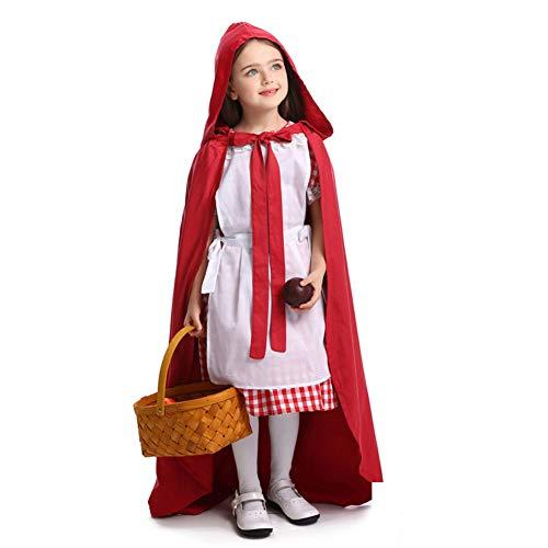 ALXDR Vestido De Caperucita Roja Disfraces De Cosplay para Nias Disfraces De Halloween con Vestido + Sombrero + Delantal + Capa,M