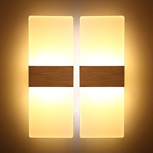 Lightess 2 Pezzi Applique da Parete Interno Moderno 12W Lampada a Muro Applique LED in Acrilico per Soggiorno, Camera da Letto, Bagno, Bianco Caldo