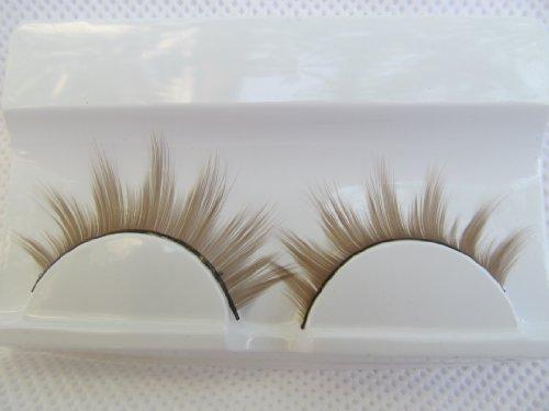 1 paire qualité en boîte bleu violet ou brun/blonde dramatique épais faux imitation extensions eyelashes pour déguisement, soirée - by fat-catz-copy-catz - Marron A-1 / blond, Taille unique