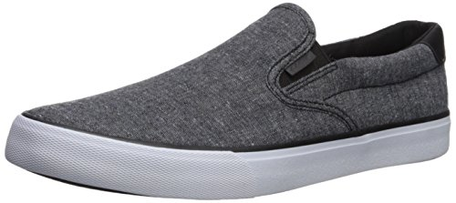 Lugz Men's Clipper Sneaker, Black/White Chambray, 10.5 M US