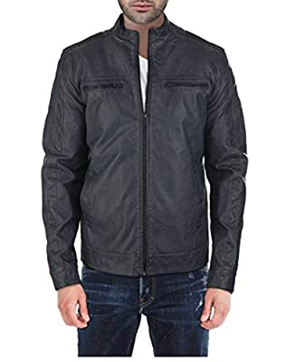 X RAY Mens Leather Biker Jacket Moto Faux Leather Casual Motorcyle Jacket for Men by XRAY Jeans