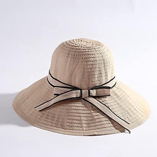 Geekcook Sombrero cordobes Mujer,2021 Primavera y Verano Sra Lavado Grande Lavado Plegable Sombrilla Sombrilla Sombrilla Sombrilla-Beige_Código