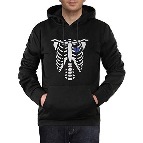 Yying Sweats à Capuche Halloween Personnalité Couple Pullover Squelette Coeur Impression Pull de Couple Sweatshirt pour Homme & Femme