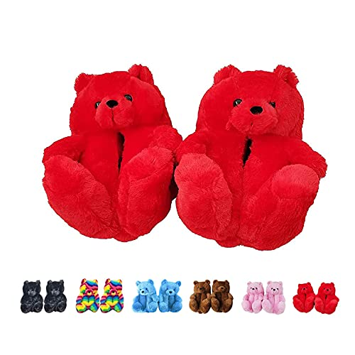 Teddy Bear Slippers for Women Indoor Winter Shoes Soft Non-Slip (Red,One Size)