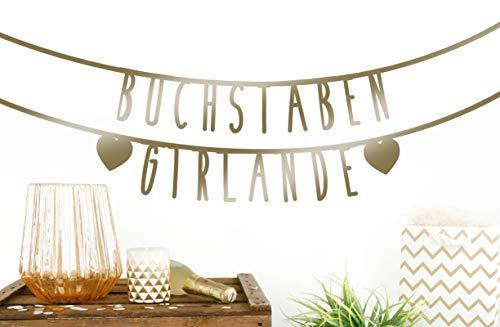 MIK Funshopping Individualisierbare Buchstaben-Girlande für Geburtstag Hochzeit Feier Party Junggesellenabschied aus Papier (Gold - 105 Zeichen)