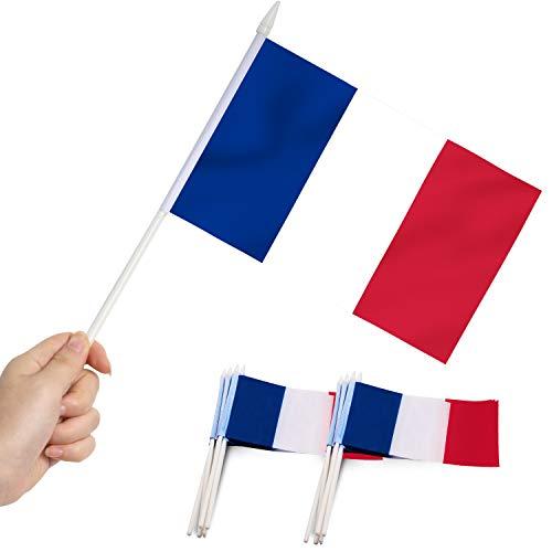Anley France Stick Flag, Mini Bandera Francesa de 5x8 Pulgadas (12 X 20 cm) con asta Blanca sólida de 12'(30 cm) - Color Vivo y Resistente a la decoloración - Banderas de Palo manuales