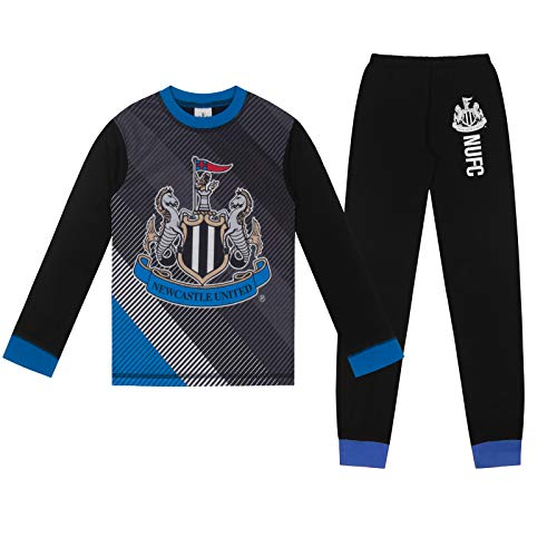 Newcastle United FC Official Gift Boys Sublimation Long Pajamas 9-10 Years Black