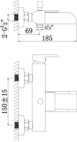 AquaSu – Badewannenarmatur, Einhandmischer, Wasserfall, Schwallauslauf, Chrom - 2