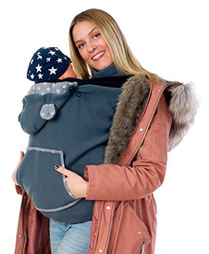 Divita Fleece Tragecover für Tragejacken & Tragetücher Babytrage Cover mit Schalkragen (Graphit)