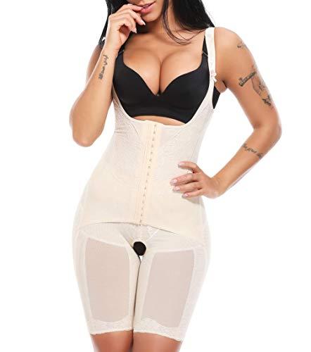 MISS MOLY Body Reductor|Mujer Modeladora Faja Reductora Adelgazantes Bodysuit de Cintura Shapewear con Pierna Largo Negro/Beige/Violeta ⭐