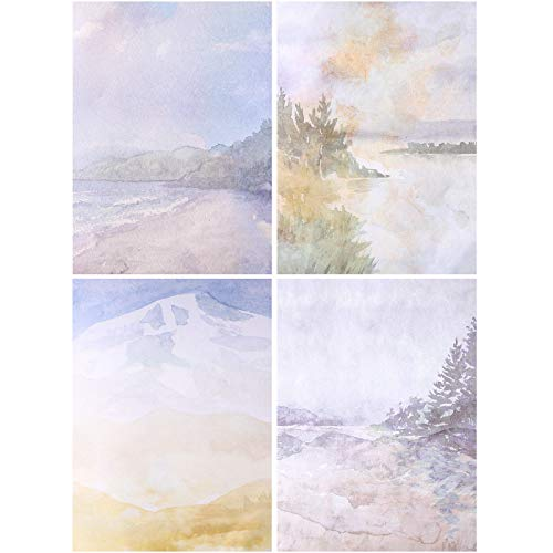 60 Sheets Stationary Papers 12 Scenic Watercolor Styles Writing Stationary Papers Letter, Double Sided Writing Paper, 8.5 x 11 Inches