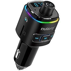 Transmisor FM Bluetooth, NULAXY Manos Libres Coche Mechero QC3.0 con 7 Colores LED retroiluminado, Apoyo Reproductor MP3, USB, Tarjeta TF, Manos Libres y Activa Siri/Google (Schwarz)