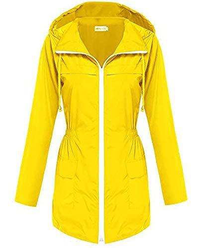 LNLW Hoodie Raincoat windjack, rits Windbreaker Long Raincoat (Color : Yellow, Size : S)