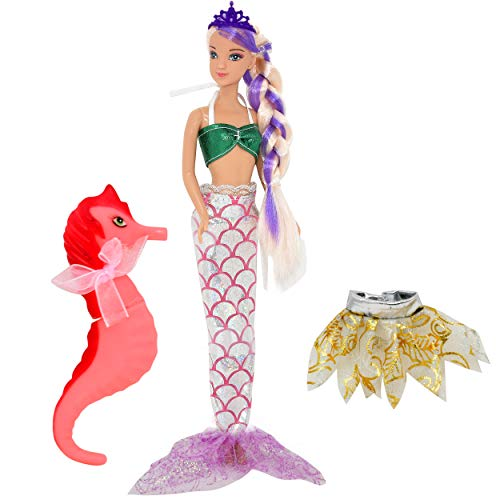 Mermaid Doll, Mermaid Fairy Princess Fashion Doll with Hair, Seahorse Toy and Crown